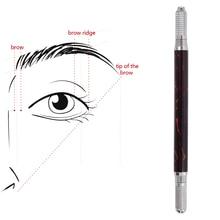 Pluma Manual para tatuaje de cejas, delineador de ojos, maquillaje permanente, máquina de tatuaje de madera, mármol, agujas redondas, 10 Uds.