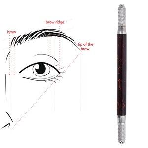 Image 1 - Pluma Manual para tatuaje de cejas, delineador de ojos, maquillaje permanente, máquina de tatuaje de madera, mármol, agujas redondas, 10 Uds.