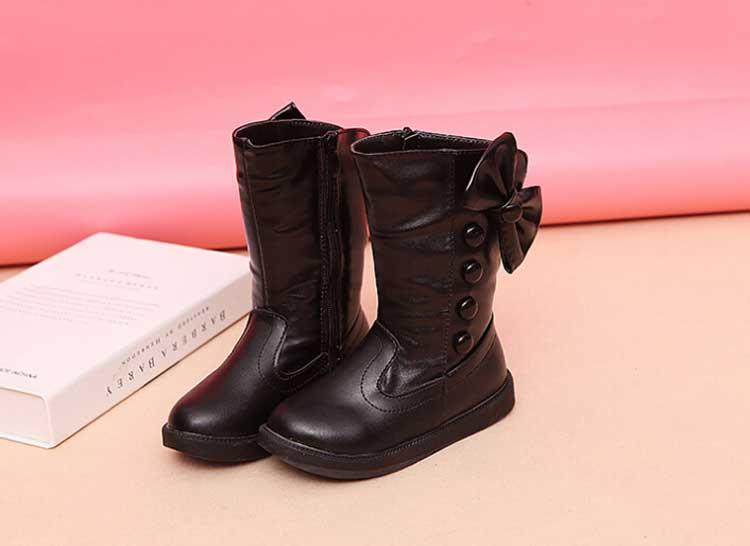 Hiver imperméable filles bottes Ski tissu chaud neige bottes enfants filles enfants arc chaussures filles en cuir coton bottes #20 - 3