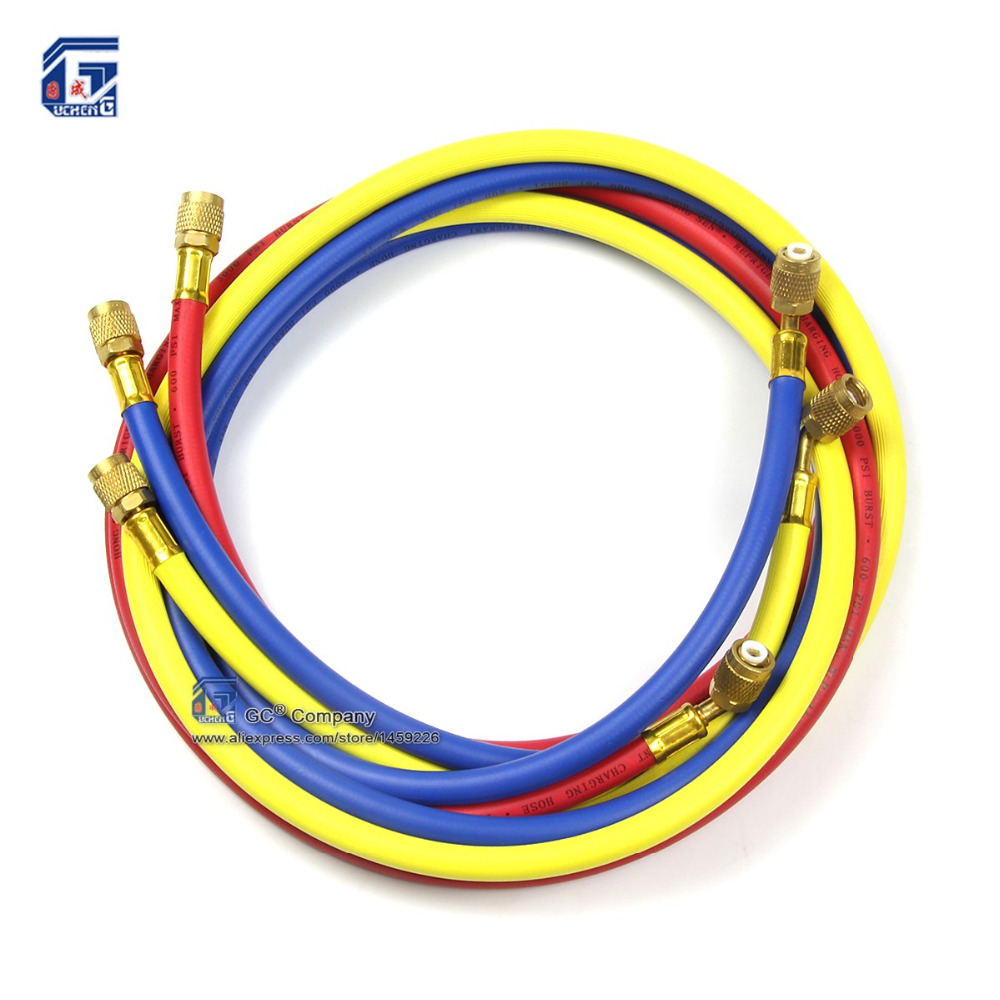 "118'' 1/4"" SAE HVAC R12 R22 R134A R502 404A Refrigerant Charging Hose for Car Auto <font><b>Air</b></font> <font><b>Conditioning</b></font> <font><b>Refrigeration</b></font> System"