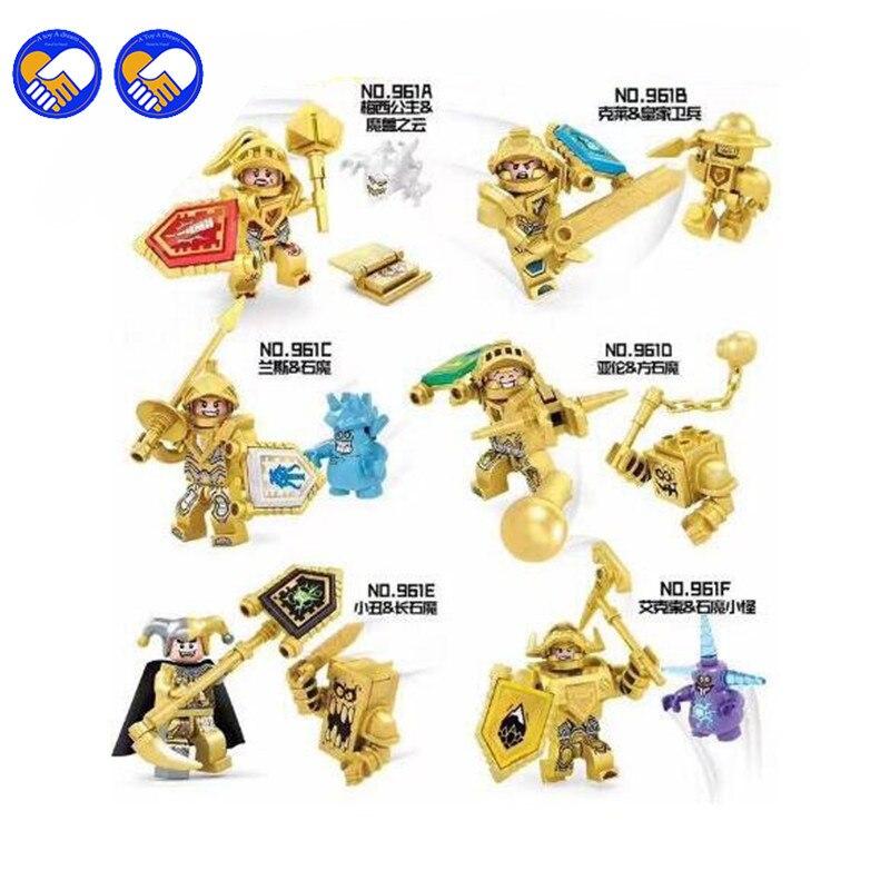 A toy A dream 6pcs/lot Dragon New Golden Nexo Knights Future Shield Building Blocks Castle Warrior Nexus Kids Toys Gift Legoingl