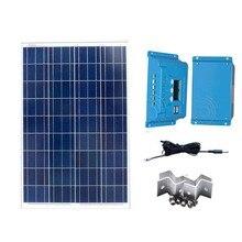 Kit Pannello Solare 12v 100w Solar Car Charger Zonnelader Charge Controller 12v/24v 10A Motorhome Caravan Camp LED Lamp