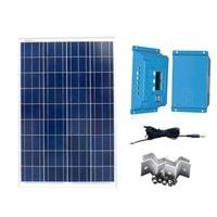 Kit Pannello Solare 12v 100w Solar Car Charger Zonnelader Solar Charge Controller 12v/24v 10A Motorhome Caravan Camp LED Lamp