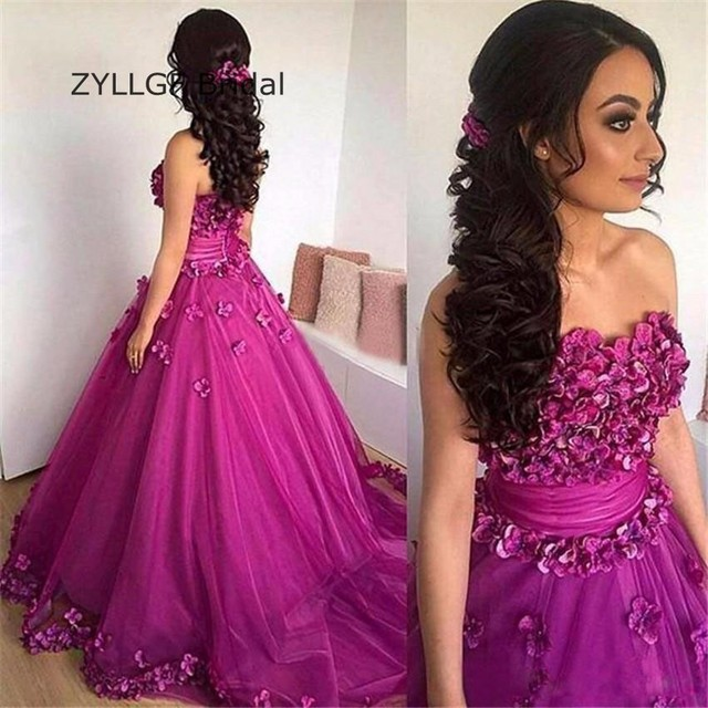 ZYLLGF Bridal Puffy Strapless Abend Kleider Lang Brush Train Tulle ...