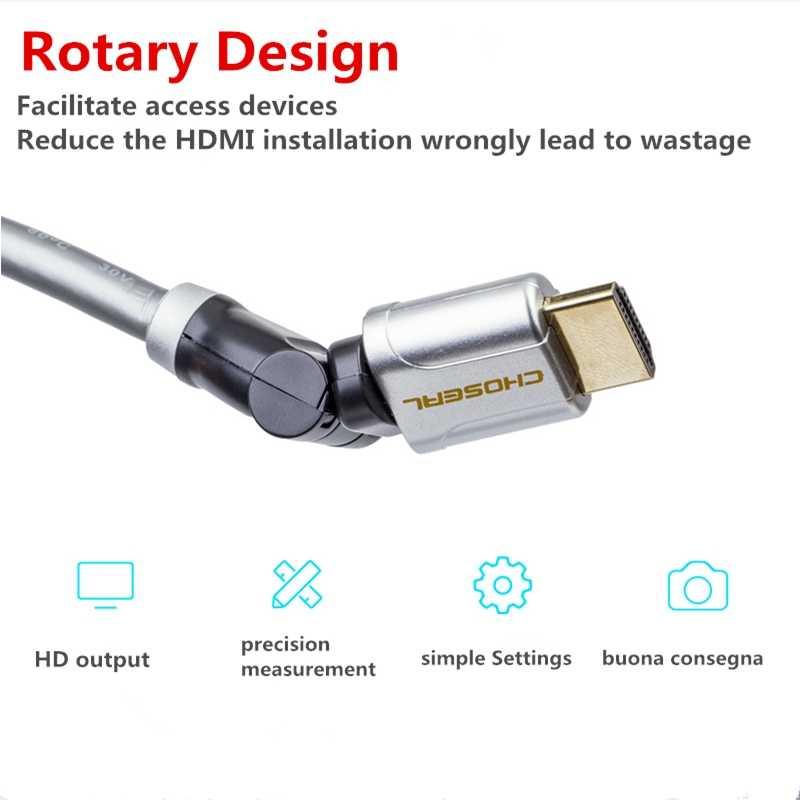Choseal HDMI Кабель Штекерный на 360 градусов вращающийся терминал 3D 4 K * 2 K HDMI 2,0 V кабель для PS3 компьютерная приставка HDTV