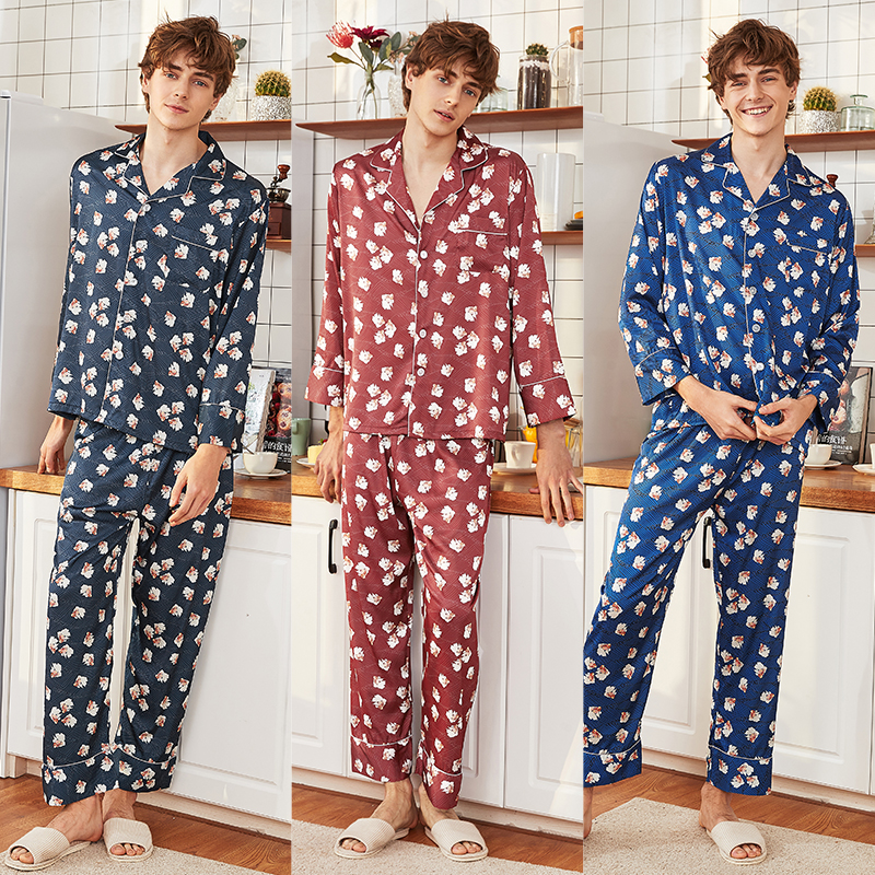 Pajamas   for Men Night Wear pijama Hombre Loungwear Sleepwear Robes   Set   Men Nightwear pigiama uomo Soft Silk Satin   Pajama     Set