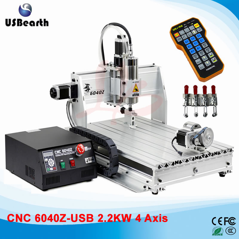 Limit Switch (USB Port) Wood Router 6040 2.2KW CNC Spindle Metal Stone Carving Machine with Mach 3 control, No Tax To Russia no tax cnc lathe machine ly6040z vfd0 8kw usb 3axis cnc router machine cnc milling machine for metal aluminum wood carving