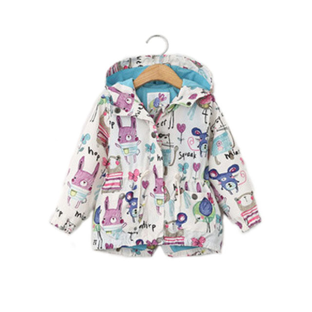2017 Cartoon Jacket For Girls Spring Animals Hooded Outerwear Coats  Fashion Jackets kids Children's Jacket