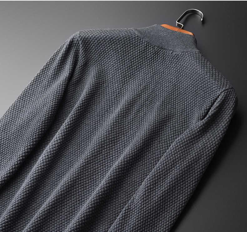 Minglu свитер Для мужчин Высокое качество серый Navy Solid Цвет кардиган на молнии свитер мужской моды Slim Fit Стенд воротник Для мужчин свитера
