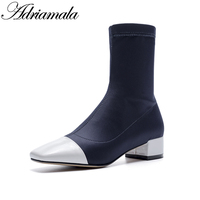 2018 Womans Black Mid Calf Boots Square Toe Stretch Fabric Brand Designer Fashion Square Heel Ladies Shoes boots Adriamala