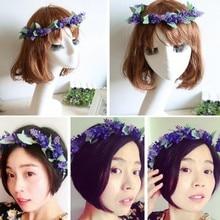 Newest Flower Garland Crown Lavender Headband Hair Band Bridal Festival Holiday Wreath
