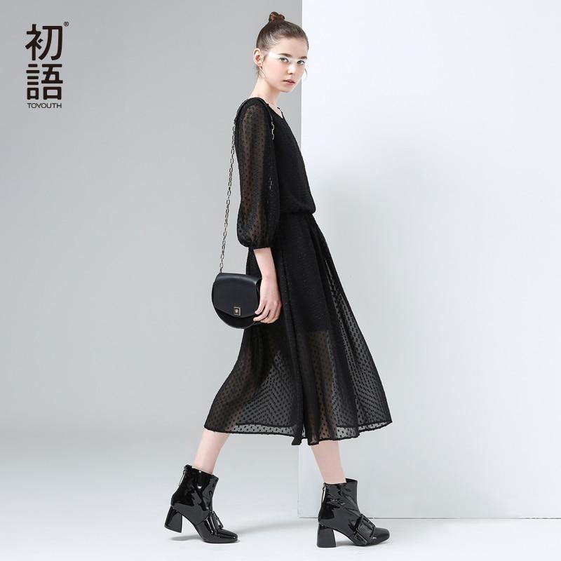 Toyouth Vestido 2017 Primavera Nuevas Mujeres Elegante Gasa Del Punto de Polca E