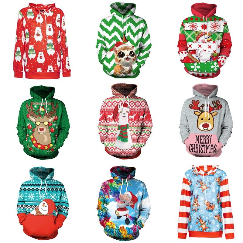 Hooded Sweatshirt Printed Santa Claus Elk Women Costume Cosplay Unisex Loose Hoodie  Festival Sweatshirt Warm Hoodies Adult