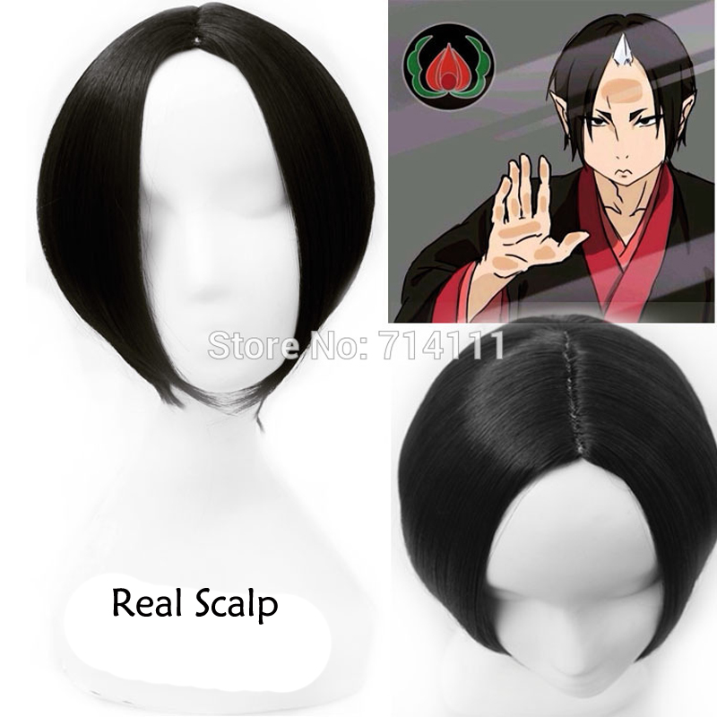 New Anime NANA Osaki Nana Black Short Middle Parting Styled Real Scalp Hair Cosplay Anime Wig  + Wig Cap