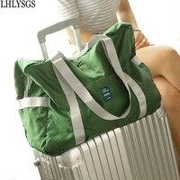 LHLYSGS Brand High Quality Waterproof Nylon Travel Bag Women Large Capacity Suitcase Luggage Bag Portable Folding