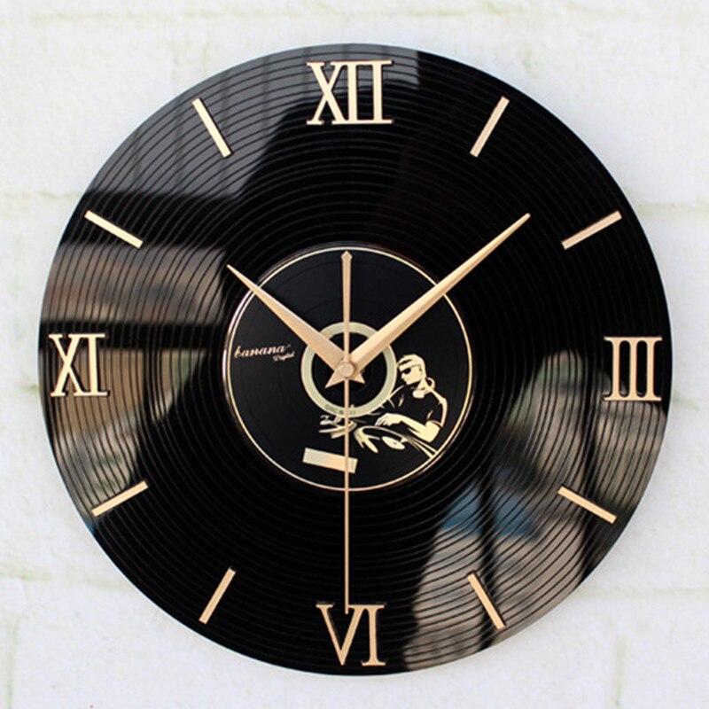 30CM Wall Clock Saat Reloj 3D Retro Nostalgia Clock vinyl CD album wall clocks Relogio de parede Duvar Saati Horloge Murale Klok