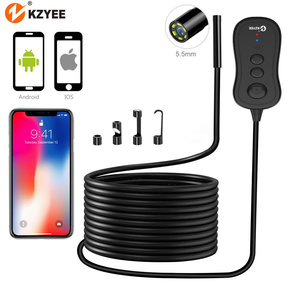 KZYEE Industrial Camera HD WIFI Endoscope Borescope Camera Waterproof Endoscope Mini Wireless Sewer Endoscope Camera for