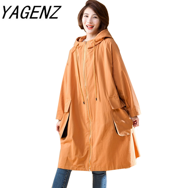 Korean Style Women Casual Loose Hooded   Trench   With pocket 2019 New Arrival Spring Long Elegant Coats Ladies Overcoat Outerwear