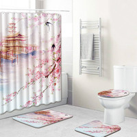 The Classical 4pcs Bathroom Shower Curtain and Rug Sets Waterproof Dropshipping Bath Mat Non Slip Toilet Seat Covers Christmas