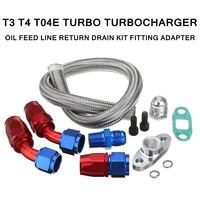 T3/T4/T04E/T60/T61/T70 Turbo Turbocharger Oil Feed Line Return Drain Kit Set Fitting Adapter Stainless Steel Hose Length 55cm