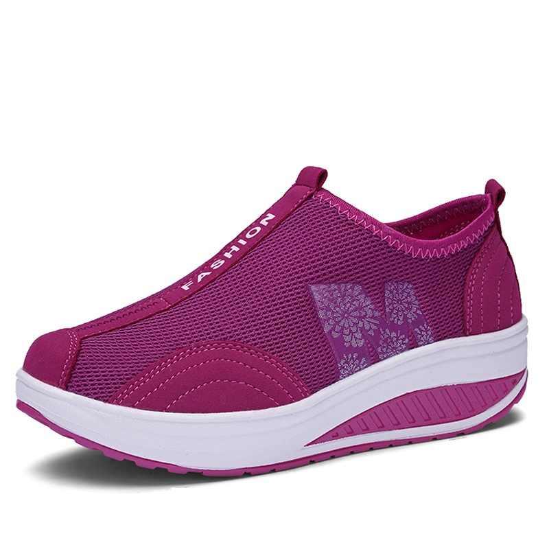 WDZKN Kadın Düz platform ayakkabılar Nefes Hava Mesh Üzerinde Kayma rahat ayakkabılar Kadın Ayakkabı Yaz Bayanlar Ayakkabı Sapatos Femininos