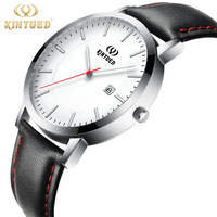 KINYUED Top Brand Mens Watch Minimalist Fashion Casual Genuine Leather Wristwatch Date Black White Face Watches Reloges Hombre