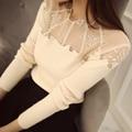 2324-2015 nueva Corea de las mujeres prendas de punto de cuello de encaje