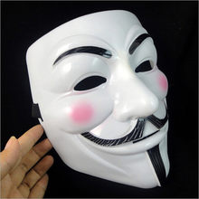 2 cores O V for Vendetta Máscara Do Partido Cosplay Máscara Anônimo Guy Fawkes Fancy Dress Costume Adult Macka Mascaras Halloween(China)