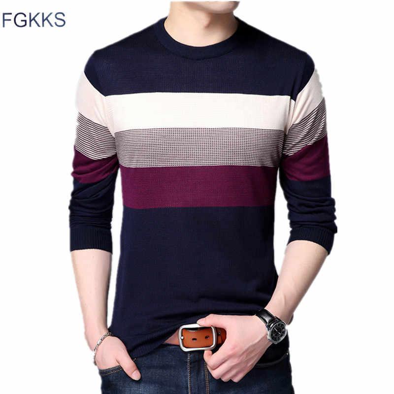 FGKKS модный брендовый свитер для мужчин, топ 2018, Осень-зима, мужские свитера, приталенный пуловер, мужской классический трикотаж, мужской свитер