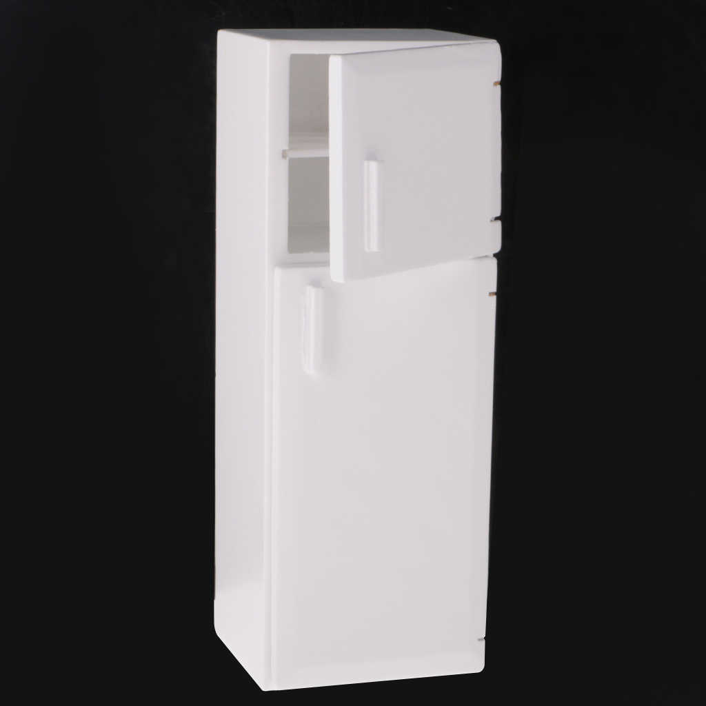 1/12 Dollhouse Miniature Kitchen White Wooden Fridge Refrigerator Freezer 1:12 Doll House Decor Classic Toys for Child Kids Gift