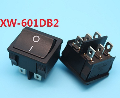 KCD5 XW-601DB2 AC swicths 6 pin 2 position double pole square rocker switch for toys electronic equipment 6A 10A ...