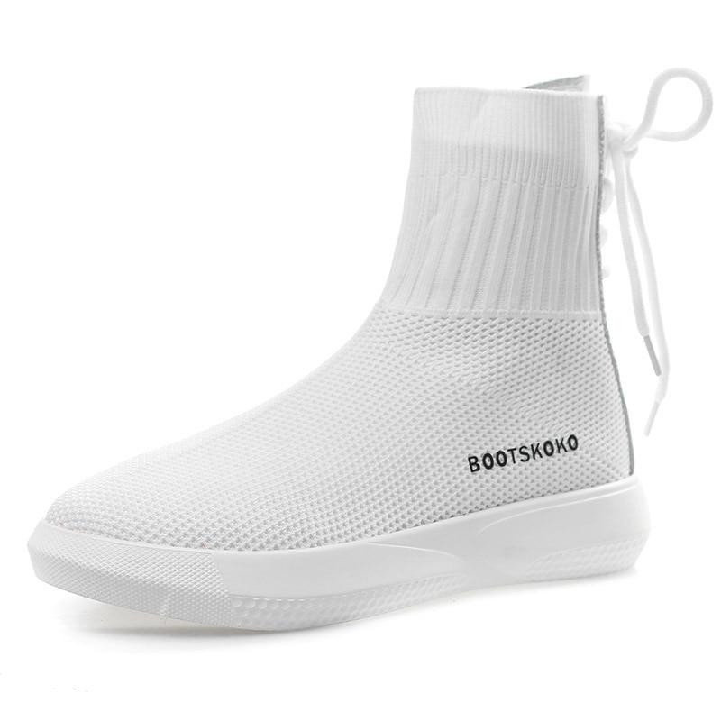 SWYIVY 靴下靴スニーカー女性ひも 2018 秋通気性の女性カジュアルシューズ高トップ弾性女性スニーカー白  グループ上の 靴 からの レディースヴァルカナイズシューズ の中 1