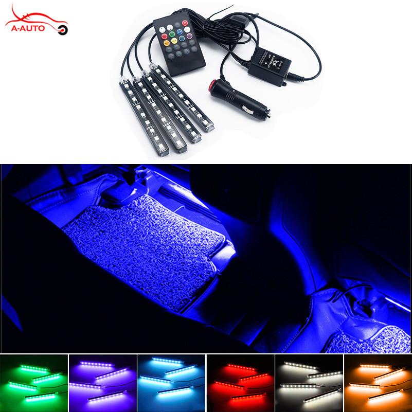 4 Strip Interior Decorative Atmosphere Neon Light Lamp LED Wireless Multi Color RGB Voice Sensor Sound music control Car Lighter