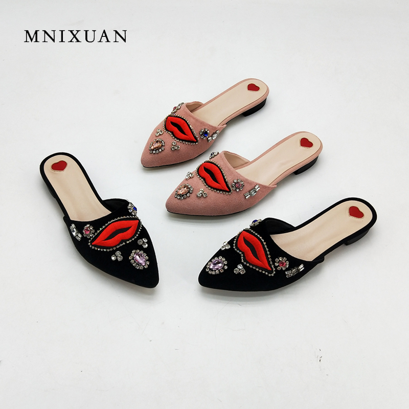 MNIXUAN women shoes flats mules summer genuine leather pointed toe slip on embroider shallow crystal ladies slippers size 34-42 women flats genuine leather shoes womens summer shoes pointed toe flats ladies cross elastic band footwear for pregnant women