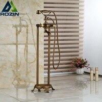 Luxury Floor Mounted Clawfoot Tub Faucet Bath Filler Antique Brass with Brass Handshower