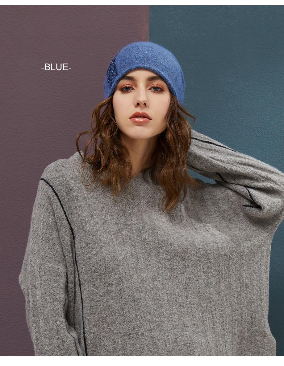 Women's Winter Beanies 2018 Stretchy Knitted Hat Flashing Glass Rhinestone Hat Female Cashmere Bonnets Elegant Warm Beanie Gorro (8)