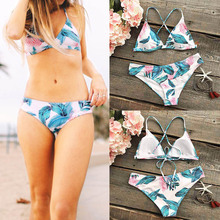2018 Sexy Leaf Floral Biquini Strappy Swim Wear Bathing Suit Swimsuit Thong Biquine Swimwear Women Brazilian Bikini