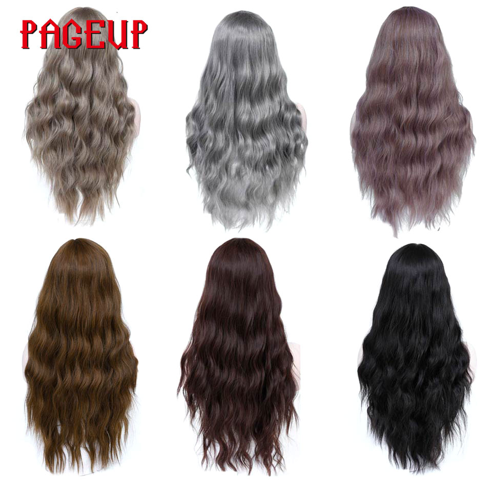 Pageup Wavy Hair Cosplay Long Wigs With Bangs For Women Ladies Heat Resistant Black Blue Blonde Pink Green Gray Synthetic Wig (4)