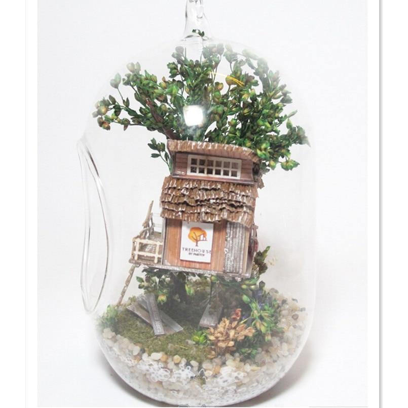 Novelty Mini <font><b>Glass</b></font> Ball <font><b>House</b></font> DIY Model Toy Tree <font><b>House</b></font>,Cute 3D Handmade Toy Wooden Dollhouse Toy for Children's Present Gift