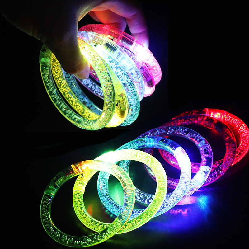 LED Flashing Bracelet Light Up Acrylic Wristband Party Bar Chiristmas Luminous Bracelet Luminous Toys For Children DS39