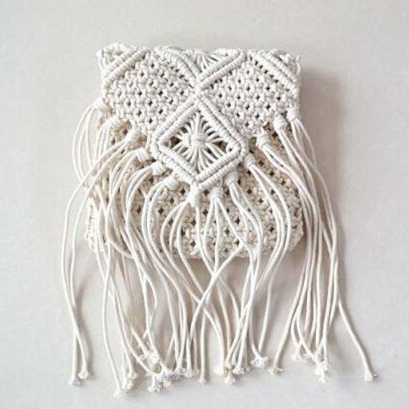 2018 mujeres Crochet flecos mensajero bolsas borlas Cruz bolsa playa ...