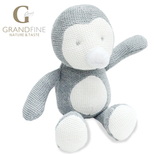 Low price 24cm hand-made gray penguin baby doll,cotton linen Eco material ,plush toys for birthday party gift