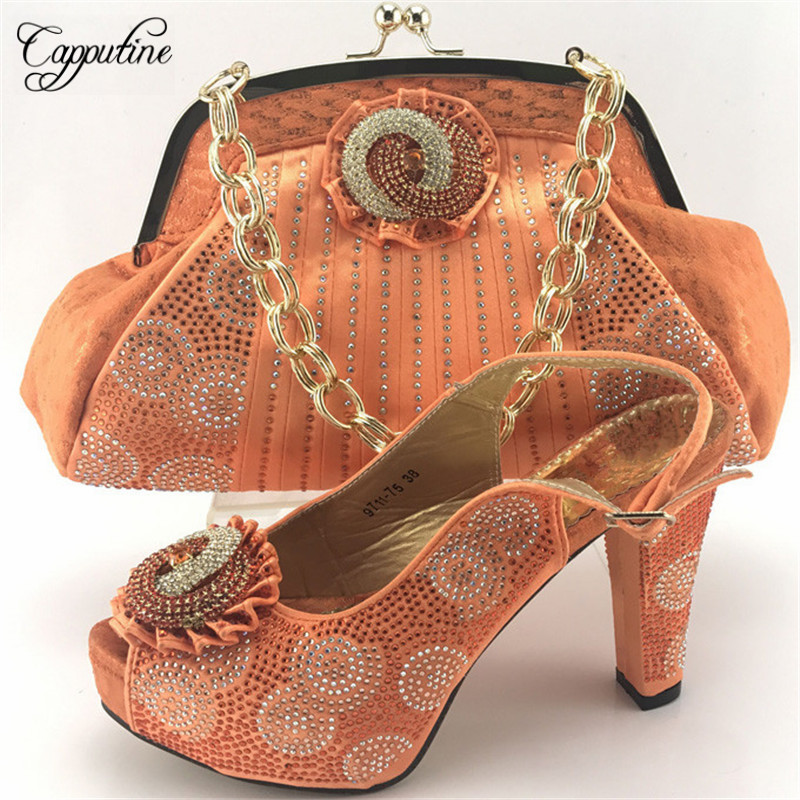 Capputine High Quality Fashion Matching Shoes And Bag Set New Italian High Heels Shoes And Bag Set For Wedding Party ME7712 th16 38 gold free shipping high quality lady italian matching shoes and bag set for wedding and party in wholesale price