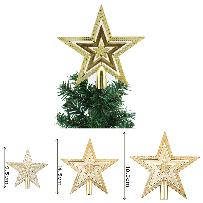 1pcs New Gold Christmas Tree Topper Star Decoration XMAS
