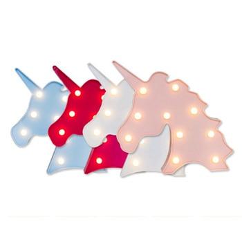 Lampe 3D Licorne Tête Led Night Light Chambre Chapiteau Lampes pour Décor 1