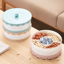 Party Snacks Serving tray with Lid Multi Sectional Snack Bowls Snack Container Box for Storing Dried Fruits Nuts Candie