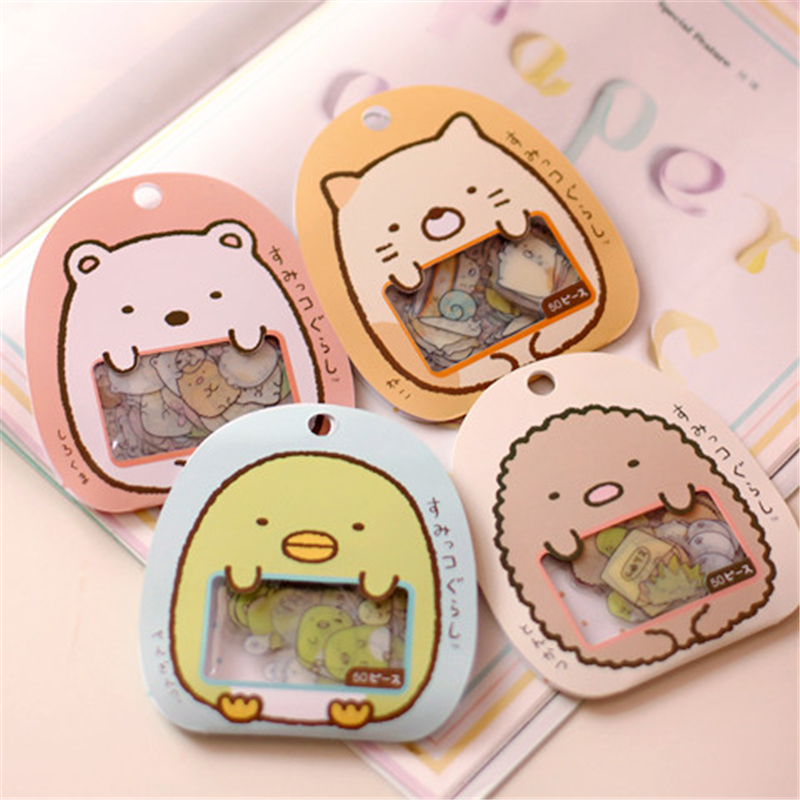 50 /pack Cute Cartoon Kawaii PVC Decorative Stickers Lovely Cat Bear Diy Memo Pad For Kids School Office Supplies
