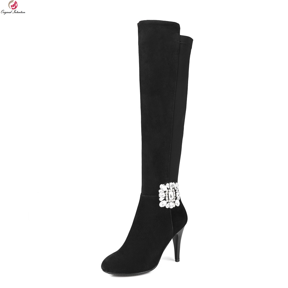 Original Intention New High-quality Women Knee High Boots Pointed Toe Thin Heels Boots Elegant Black Shoes Woman US Size 4-13 original intention high quality women