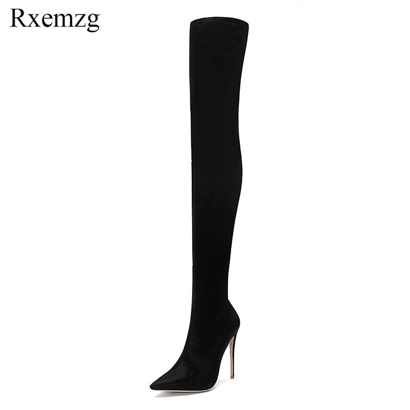 Sobre Estiramiento Otoño 45 34 Altos Nuevos La Zapatos Mujer De Tamaño Tacones Rxemzg Puntiaguda Rodilla Para Grande Satén Sexy Negro 2018 Señora Bota BYwdqTBp
