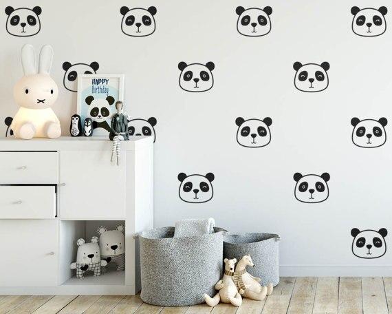 Cartoon Cute Panda Face Wall Decals Stickers Vinyl Home